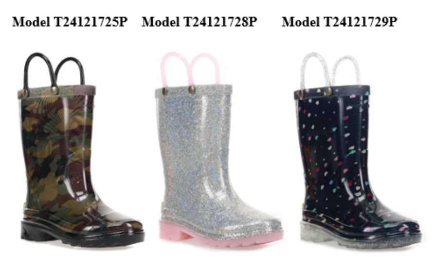 """Recalled Western Chief """"Abstract Camo"""", """"Alia Silver"""", and """"Sweetheart Navy"""" Light-Up Rain Boots"""