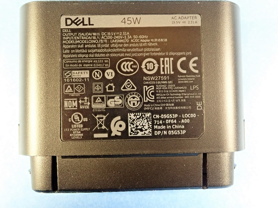 Label of recalled Dell Hybrid Power Adapters sold with Dell Power Banks.