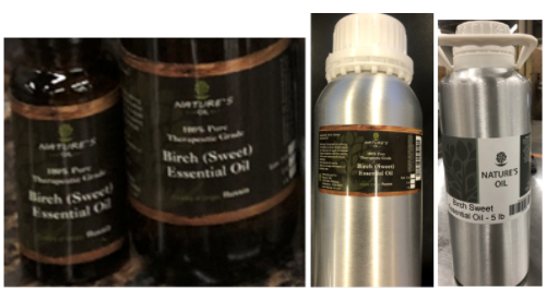 Recalled Nature's Oil Birch Essential Oils 15 mL, 60 mL, 473 mL and 2.25 mL (5 lb)