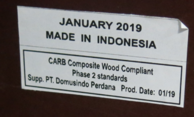 """A label on the back of each recalled dresser displays the date of manufacture and """"MADE IN INDONESIA."""""""