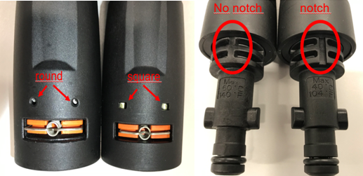 Recalled spray wand (left images; round pins and no notch) and replacement wand (right images; square pins and notch)