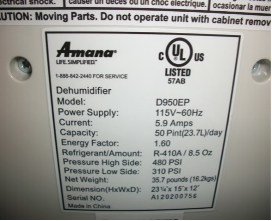 Example Rating Sticker located on rear of recalled dehumidifiers