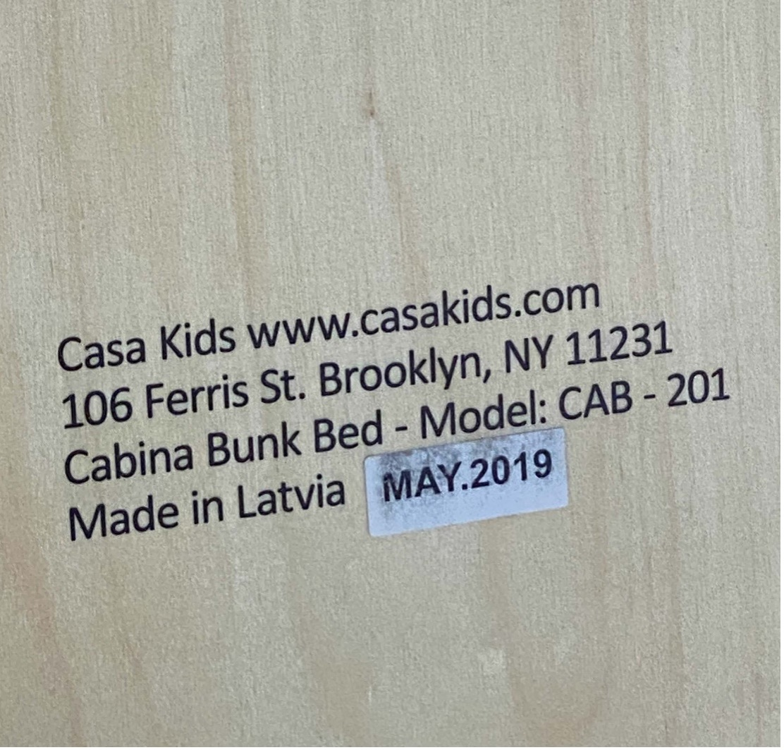 Label of recalled Casa Kids Cabina Bunk Bed - May 2019