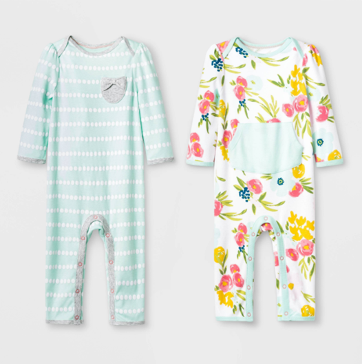 """Recalled Cloud Island """"Floral Fields"""" and Mint Green Rompers"""
