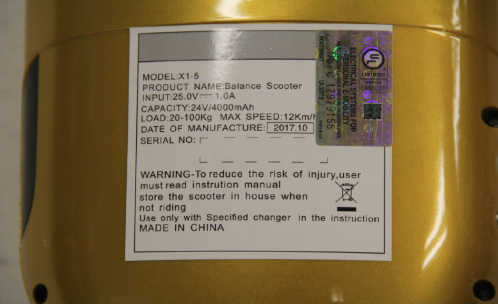 Label on bottom of NEW HIGH TECH X1-5 hoverboard