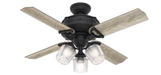 "Hunter fan 52262 Brunswick 44"" with 3 lights in black (natural iron) housing"