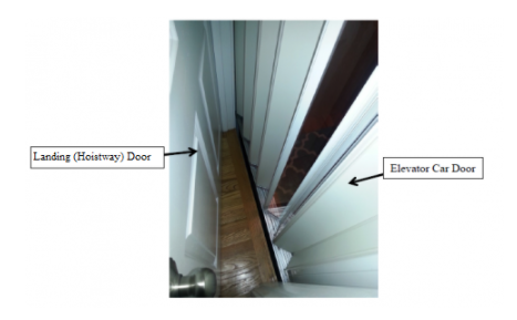 Typical Private Residence Elevator with Exterior Landing (Hoistway) Door and Interior Elevator Car (Accordion) Door