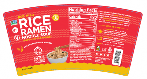 Recalled Lotus Foods red miso rice ramen noodle soup cup label