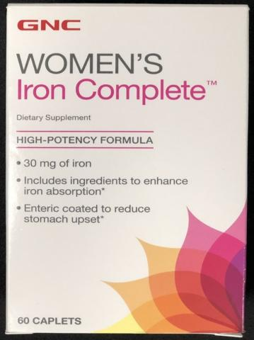 GNC Women's Iron Complete Dietary Supplement – sixty (60) caplets