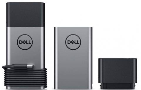 Light-gray Dell Power Bank with the recalled dark-gray Dell Hybrid Power Adapter.