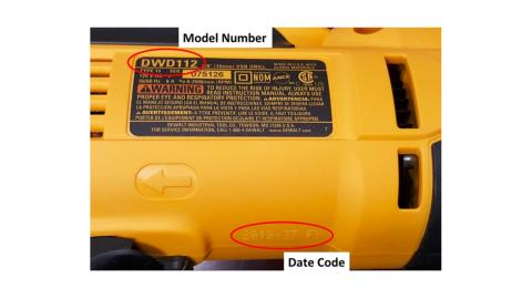 Recalled DWD112 Drill showing location of model number and date code. The date code pictured is not within the recall range.