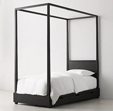 Recalled RH Callum canopy bed – washed black