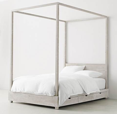 Recalled RH Cullum canopy bed – sandwashed grey