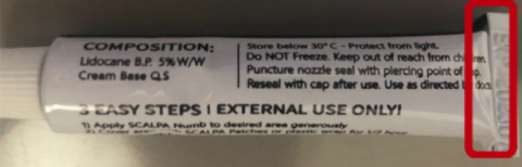 Recalled Scalpa Numb Maximum Strength Topical Anesthestic Cream - Expiration Date