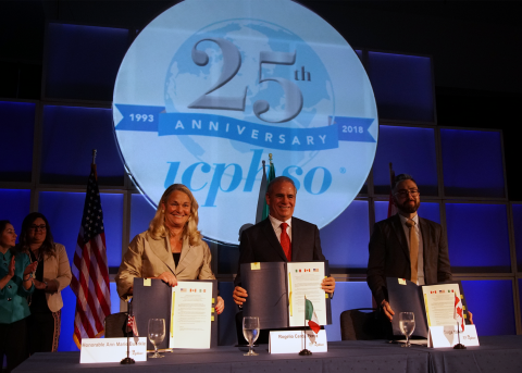 CPSC Acting Chairman Ann Marie Buerkle, Health Canada Director General, Consumer Product Safety Directorate, Health Canada Tolga Yalkin; and Profeco Federal Consumer Attorney Rogelio Cerda Pérez sign the trilateral agreement at the 2018 ICPHSO conference